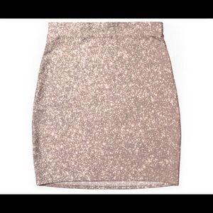 Forever 21 Pink Rose Gold Glitter Mini Skirt